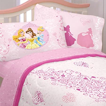Amazon.com: Pink Princess Hearts Full Bed Sheet Set   4pc Disney Cinderella  Aurora Bedding: Home U0026 Kitchen