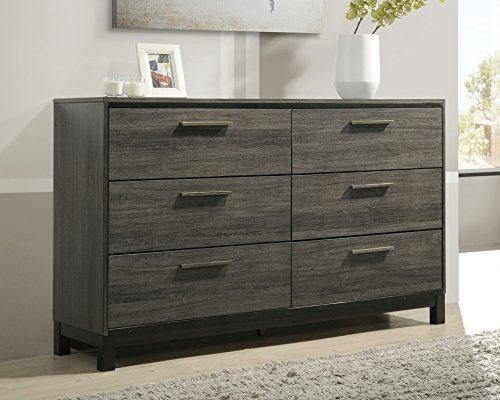 (Roundhill Furniture Ioana 187 Antique Grey Finish Wood 6 Drawers Dresser, Dresser)