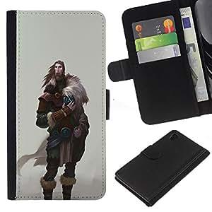 Be-Star la tarjeta de Crédito Slots PU Funda de cuero Monedero caso cubierta de piel Sony Xperia Z4v / Sony Xperia Z4 / E6508 ( Viking Warrior Man Beard Wild Ancient )