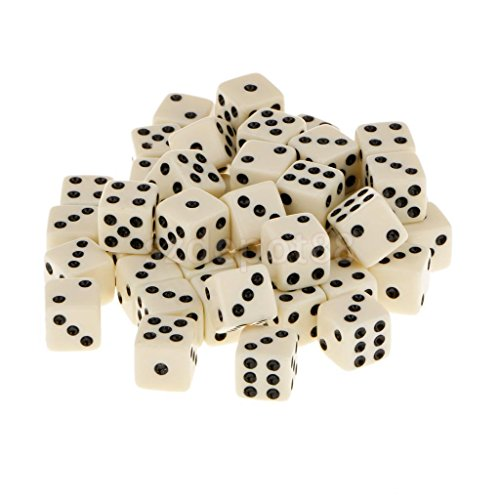 12mm 50Pcs Acrylic Playing Dice Set Children Kids Toys Yellow Color by uptogethertek
