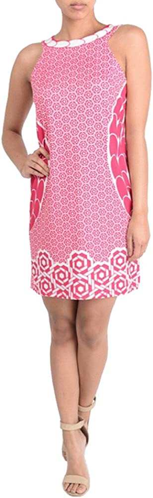AR Ladies Sleeveless Pink Print Shift Dress