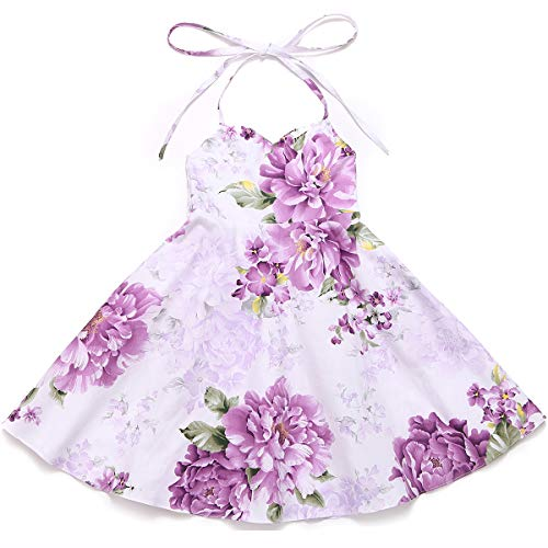 Flofallzique Floral Vintage Girls Dress Summer Birthday Party Holiday Toddler Dress (8, Purple 2)