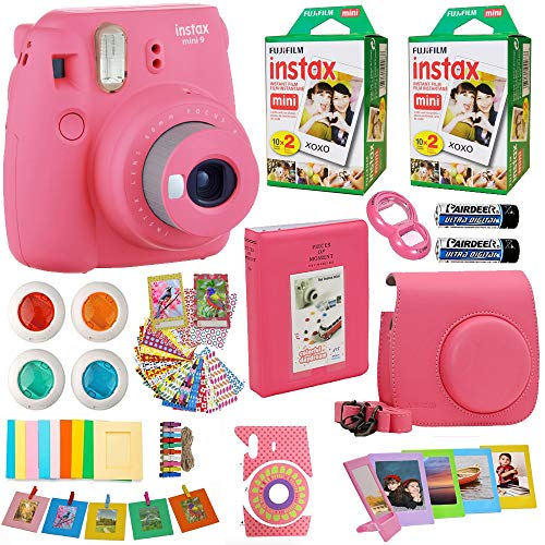 (Fujifilm Instax Mini 9 Instant Camera Flamingo Pink + 2X Fuji Instax Film Twin Pack (40PK) + Pink Camera Case + Frames + Photo Album + 4 Color Filters and More Valentines Bundle)