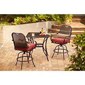 com hampton bay fall river 3 piece outdoor patio high dining set