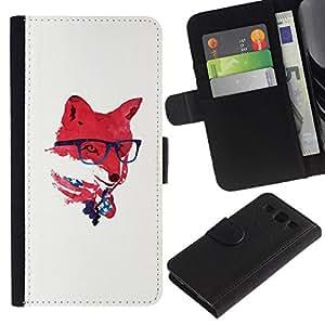 NEECELL GIFT forCITY // Billetera de cuero Caso Cubierta de protección Carcasa / Leather Wallet Case for Samsung Galaxy S3 III I9300 // Red EE.UU. Hipster Fox