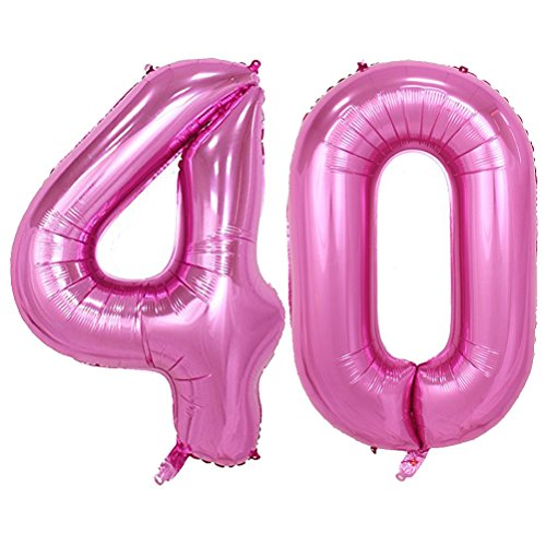 Tellpet Pink Number 40 Balloon, 40 Inch]()