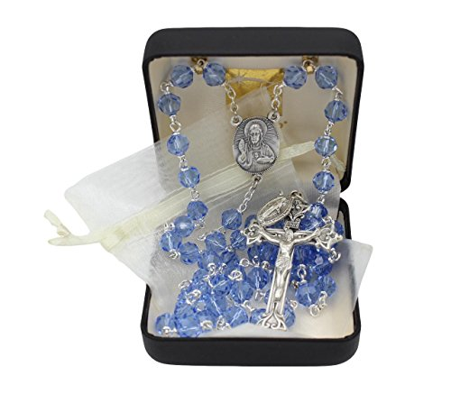 Bundle: Vienna Austrian Crystal Rosary with 7MM Light Blue Crystal Beads with Organza Storage Bag