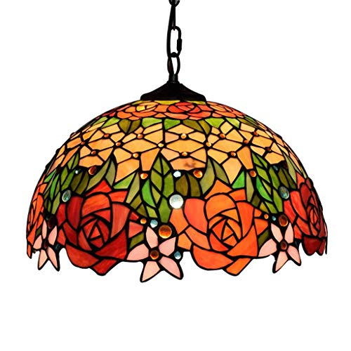 Tiffany Style Chandelier Lighting 1 Light Colorful Glass Ceiling Light Fixture 16-inches Shade Bronze Finish Chandelier