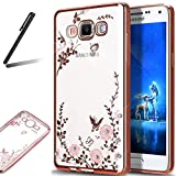 Galaxy S8 Plus Glitter Case,Galaxy S8 Plus Soft Cover,Galaxy S8 Plus Clear Case,SKYMARS Electroplating Butterfly Flower Bling Glitter Diamond Clear TPU Back Transparent Soft Flexible Silicone Bumper Protective Case For Samsung Galaxy S8 Plus (2017) Rose Gold Bumper Pink Flower