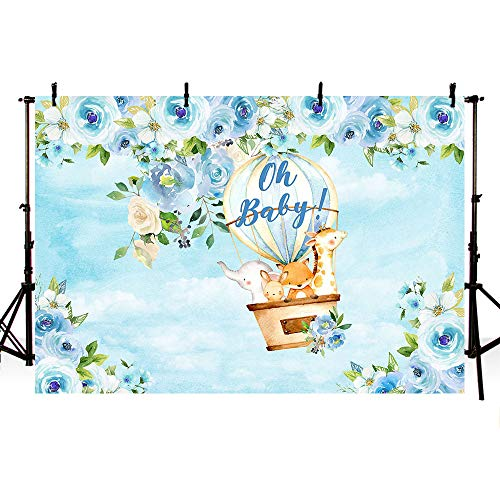 MEHOFOTO Safari Boy Baby Shower Party Backdrop Jungle Safari Hot Air Balloon Animals Blue Floral Photography Background Baby Boy Photo Booth Banner for Dessert Table Supplies 7x5ft ()