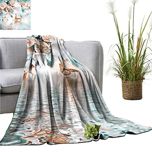- YOYI Soft Blanket Microfiber Bouquet for The Bride Yellow Roses White Calla Lilies Butterfly Easy Travel 35