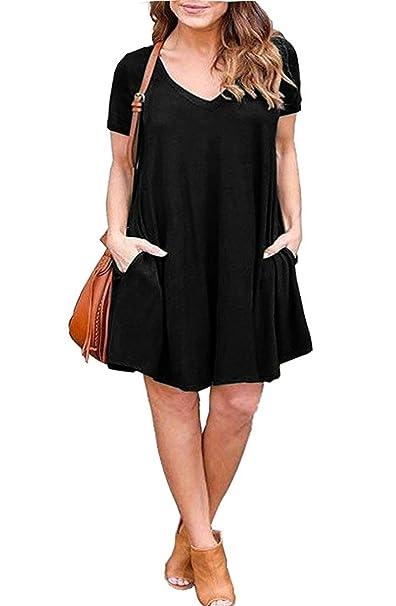 0999515328 Yskkt Womens Plus Size Summer V Neck Tshirt Dress Short Sleeve Casual Loose  Pockets Flowy Tunic Dresses