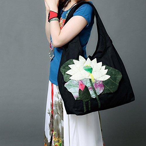 Girl BISSER Fille Bisser Yunnan Ethnique Vent Lotus Sac à bandoulière, fraîche et Joli Sac en Toile, la Coloration Big Bag