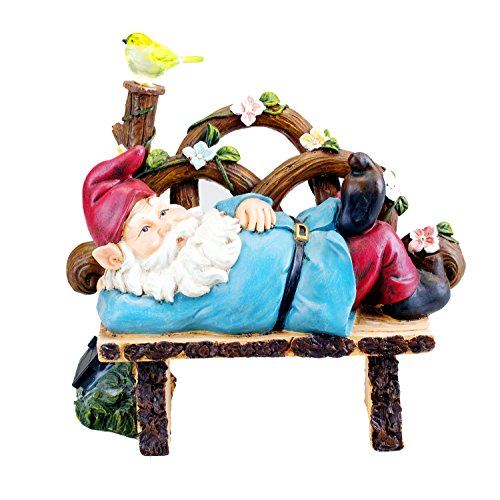 Solar Powered Gnome Laying On a Bench LED Garden Light Decor by Bo-Toys