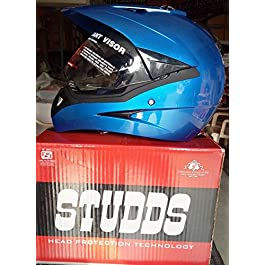 Studds Motocross Full Face Helmet with Visor (Silver and Grey, L)