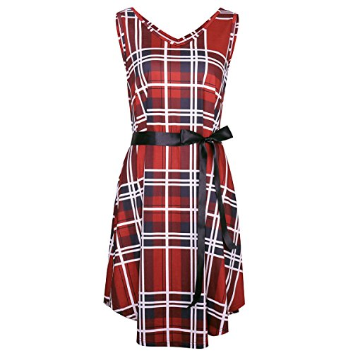 V neck Femmes Coton Décontracté Dress Rouge Sleeeveless Midi Plaid Alaix Lâche qx71OwBWRO