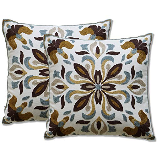 Gold Decorative Toss Pillow - Purple Expressions Throw Pillow Covers Embroidered Decorative Cushion Cases 18 x 18 inch, Set of 2