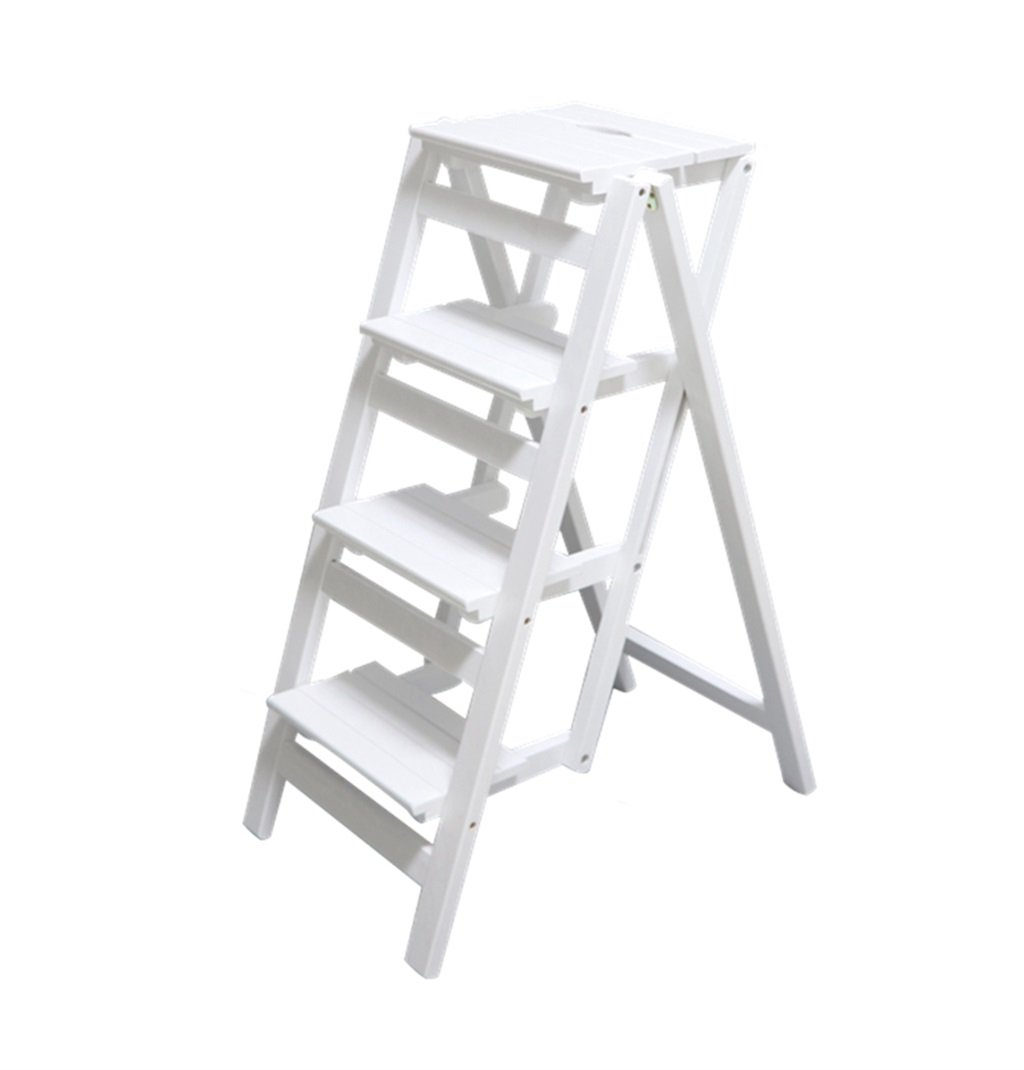 C JiuErDP Solid wood folding household ladder - indoor ladder pedal four-step herringbone folding ladder - solid wood ladder stool Step stool (color   D)