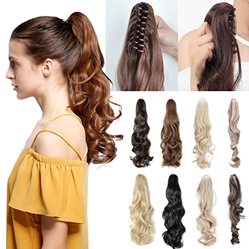 Claw Ponytail Hair Extension One Piece Clip in with Jaw/Claw Synthetic Straight Wave Black Brown (18-26