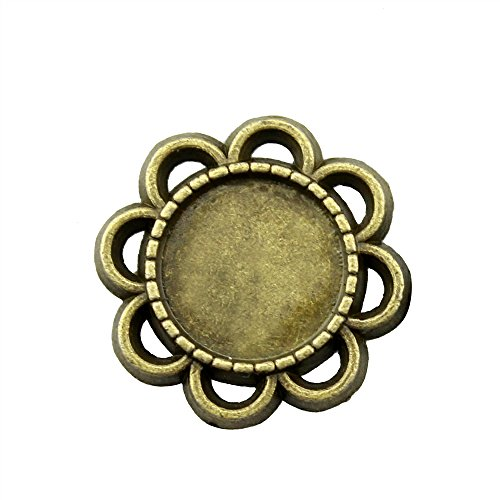 (NEWME 30Pcs 12mm Round Inner Size Antique Bronze Planted Flower Single Side One Hanging Cabochon Base Blank Tray Cameo Setting Necklace Bracelet Pendant Charms)