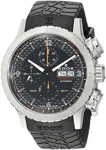 Edox Men's 01118 3 NO Chronorally 1 Analog Display Swiss Automatic Black Watch