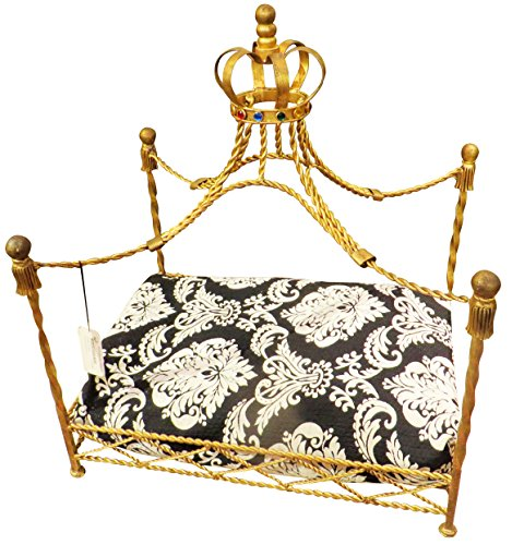 Jeweled Crown Gold Iron Dog Bed | Pet Canopy Metal Royal