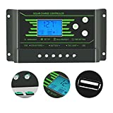 PWM 30A 20A 10A Solar Charge Controller 12V 24V Auto with Back-light LCD Display Dual USB 5V Solar Regulator Charger Z10 Z20 Z30 (30a solar controller)