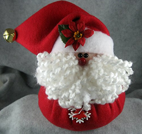 Christmas Decoration Handmade Santa in Red Fleece Stuffed Shelf Sitter Holiday Ornament (White Felt Beard)