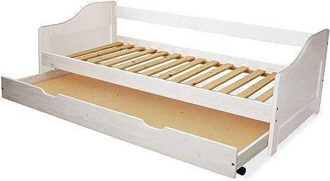 KMH, madera maciza Cuna/extensible cama con cama extraíble Buzón, incl. 2 somieres (90 x 200 cm/blanco) (# 201101)