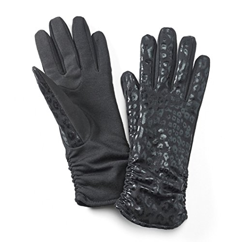 Womens Apt. 9 Leopard Ruched Tech Touchscreen Compatible Gloves (Black, S-M) from Apt 9