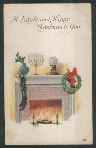 Bright & Happy Christmas to You wreath stocking menorah fireplace postcard ()