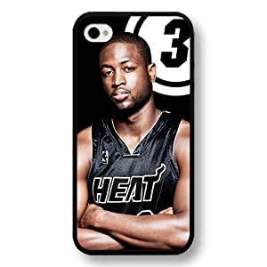 TYH - Customized Personalized Black Hard Plastic iPhone 4/4S Case, NBA Superstar Miami Heat Dwyane Wade iPhone 4/4S case, Only Fit iPhone 4/4S case ending phone case