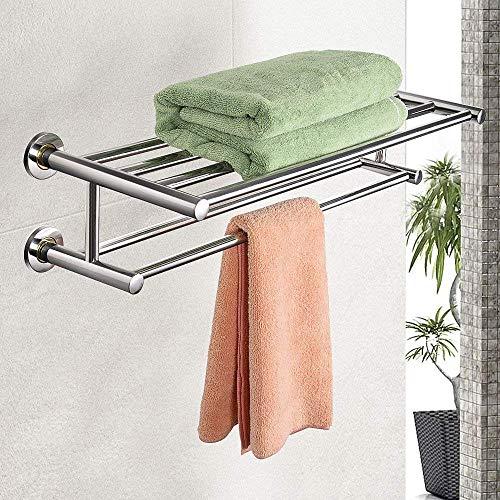 Goplus Wall Mounted Towel Rack Bar, Stainless Steel Metal Towel Bars Organizer Towel Shelf Holder Storage Rail for Bathroom 24''