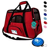 soft sided pet carrier - Premium Soft-Sided Pet Travel Carrier by PetAmi | Airline Approved, Ventilated Design, Safety | Ideal for Small to Medium Sized Pet (Red)