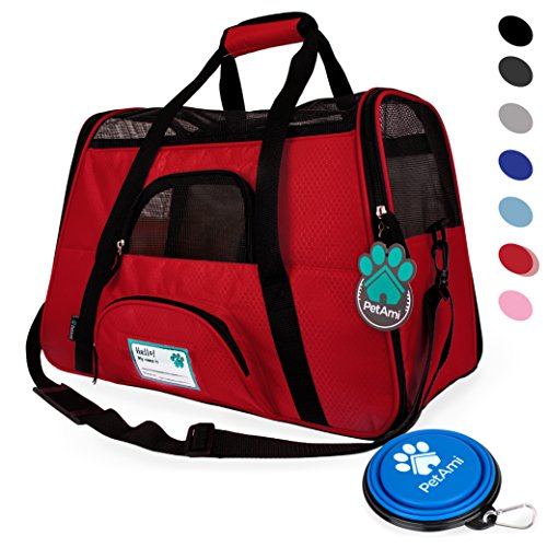 Premium Soft-Sided Pet Travel Carrier by PetAmi | Airline Approved, Ventilated Design, Safety | Ideal for Small to Medium Sized Pet (Red)