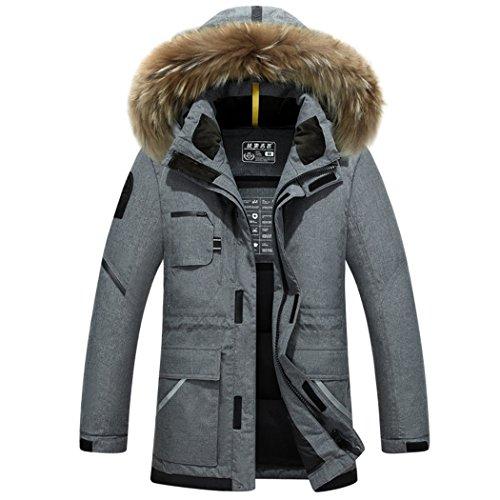 casual men's HHY coat L gray long jacket Winter hooded wqUCUTxP