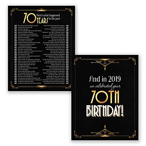 70th Birthday Gifts for Men or Women - Black and Gold Poster Set of 2- Back in 1949 Year Sign - Party Decoration (70th)