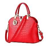 Rubysports Women Claissic Top Handle Handbag Crossbody Casual Purse Satchel Tote (Red-v)
