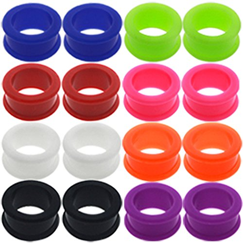 0 00 gauges Ear Plugs Flesh Tunnels Silicone Steel Screw Double Flared Stretcher Taper 5/8 gauges 5/8 16mm by MoDTanOiz - Flesh tunnels (Image #2)