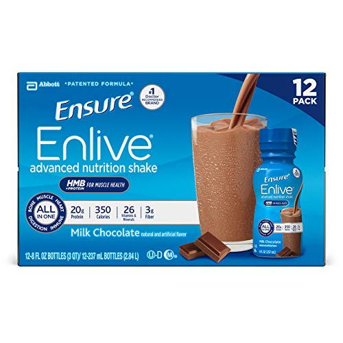 Ensure Enlive Advanced Nutrition Shake with 20 grams of protein, Milk Chocolate, 8 fl oz - Pack of 24
