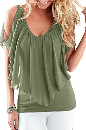 Moly Magnolia Womens V Neck Sleeveless Cold Shoulder Club T Shirt Tops Army Green XXL
