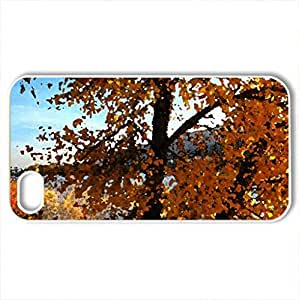 Autumn tree - Case Cover for iPhone 4 and 4s (Lakes Series, Watercolor style, White)