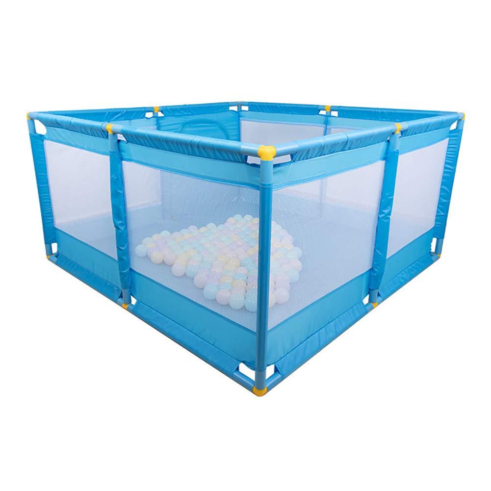 ベビープレイペンキッズアクティビティセンター安全プレイヤードホーム屋内屋外プレイフェンス、128 * 128 * 66cm、ブルー (色 : Playpen+mat)  Playpen+mat B07H71TNVY