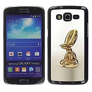GOODTHINGS Funda Imagen Diseño Carcasa Tapa Trasera Negro Cover Skin Case para Samsung Galaxy Grand 2 SM-G7102 SM-G7105 - estatua de oro perro animal del globo