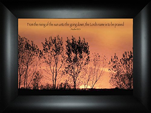 Rising of the Sun By Todd Thunstedt 18x24 Inspirational Religious Bible Verse Jesus Trees Sunset Quote Saying Jesus Testament Old New Psalm Framed Art Print Wall Décor Picture