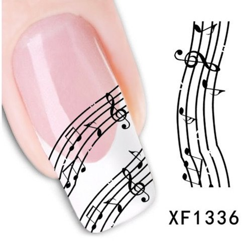 nail stickers , 1sheets New Water Transfer Stickers Music Notes Stick DIY Designs Nail Art Decals Wraps Polish Tips French Tips Tools LAXF1336