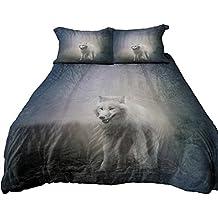 Anoleu Reversible Design Bedding, Wolf in Misty Forest and Roaring Polar Bear Duvet Cover Set (Queen)