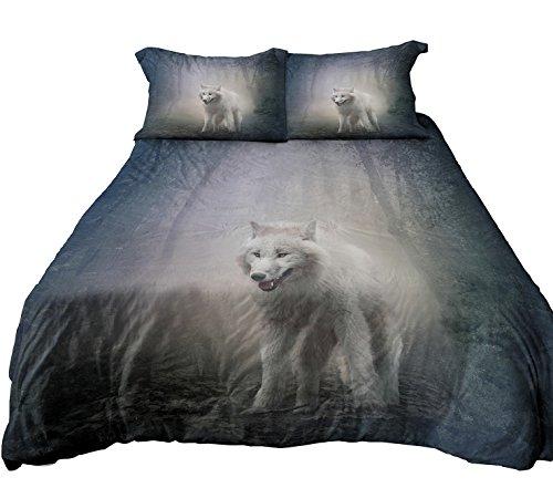 Anoleu Reversible Design Bedding, Wolf in Misty Forest and Roaring Polar Bear Duvet Cover Set (Full)