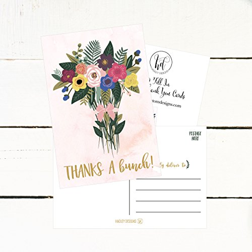 50 4x6 Watercolor Floral Thank You Postcards Bulk, Cute Boho Flower Thank You Note Card Stationery For Wedding, Bridesmaid, Bridal or Baby Shower, Teachers, Appreciation, Religious Event, Business Etc Photo #3