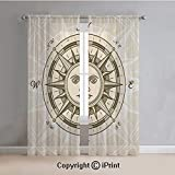 Compass Decor Sheer Curtains Window Voile,Vintage Compass Rose with Sun Shape Human Face Historic Decorating Illustration,for Bedroom,Living Room,Kitchen,2 Panels Set,54x63Inches,Beige Brown
